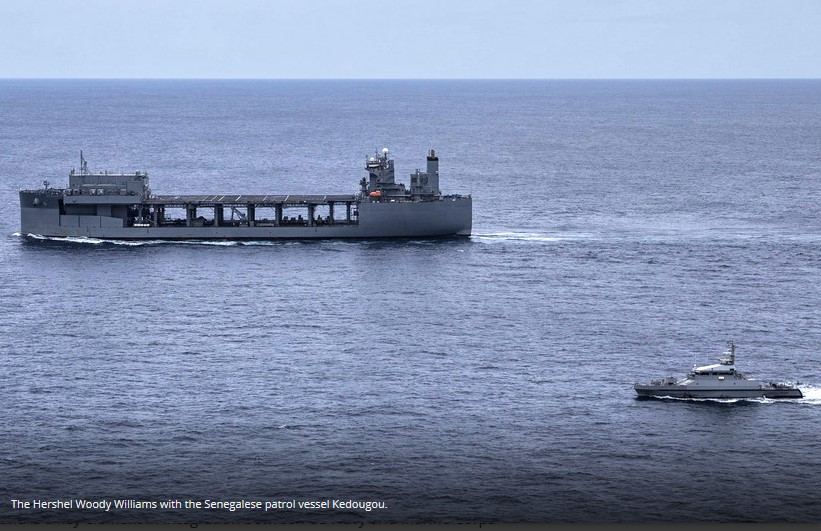 USS Hershel 'Woody' Williams operates with the Senegalese Navy
