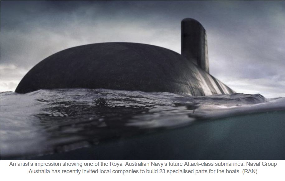 Naval Group Australia launches submarine 'manufacturing packages' for local industry