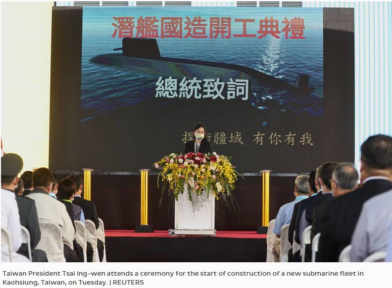Taiwan's leader launches production of domestically made sub