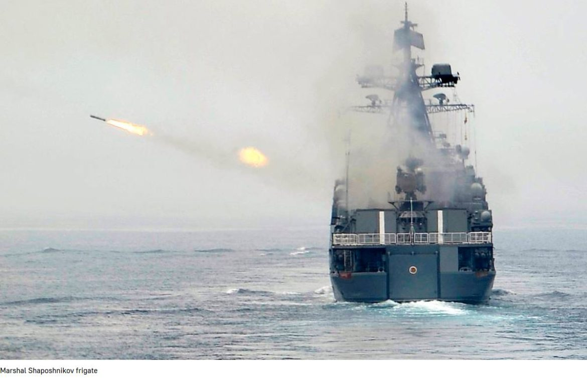 Frigate Marshal Shaposhnikov launches cruise missile Uran for the first time