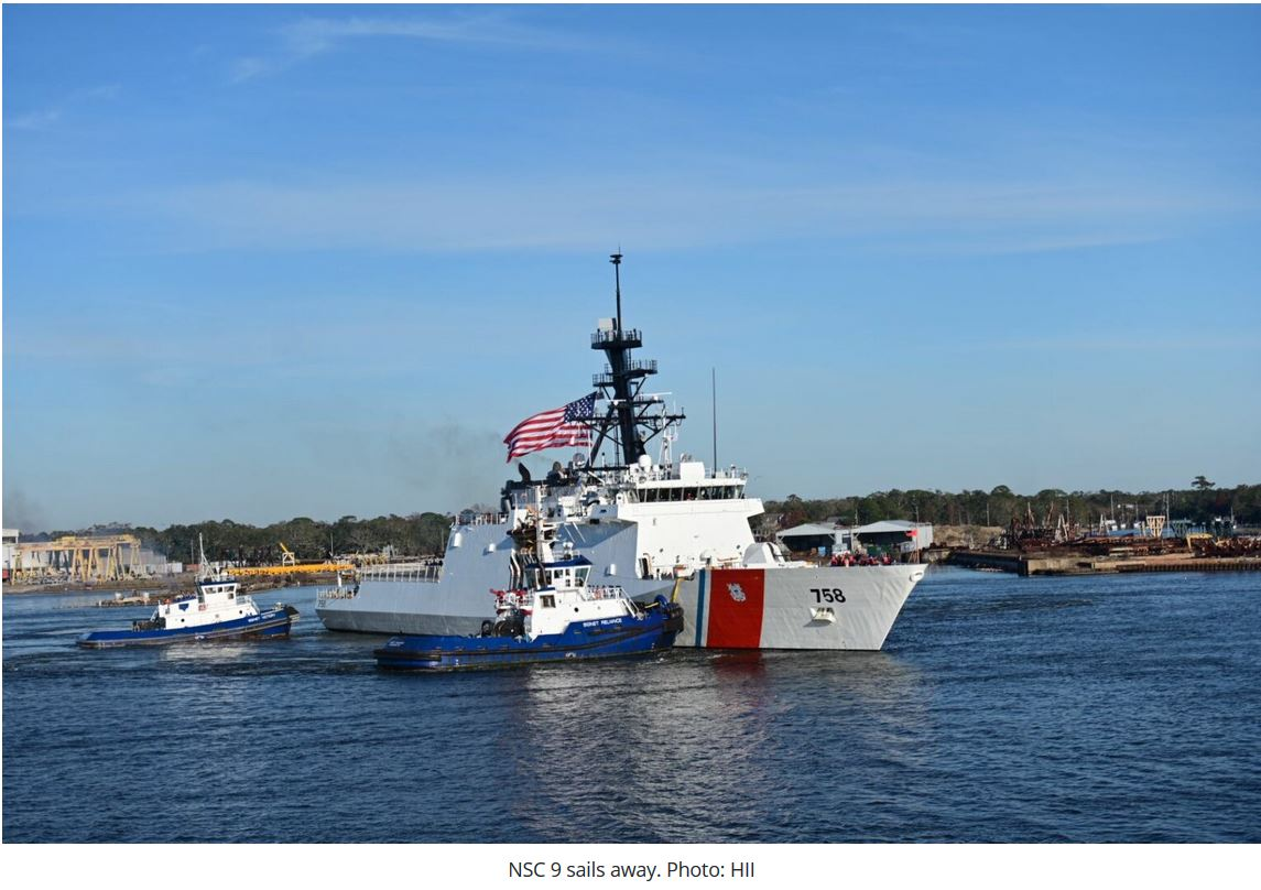 USCG's 9th national security cutter sails away from shipyard