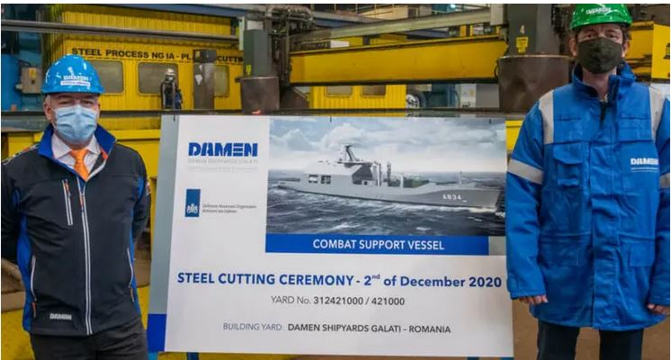 Damen cuts first steel on Royal Netherlands Navy's Combat Support Ship