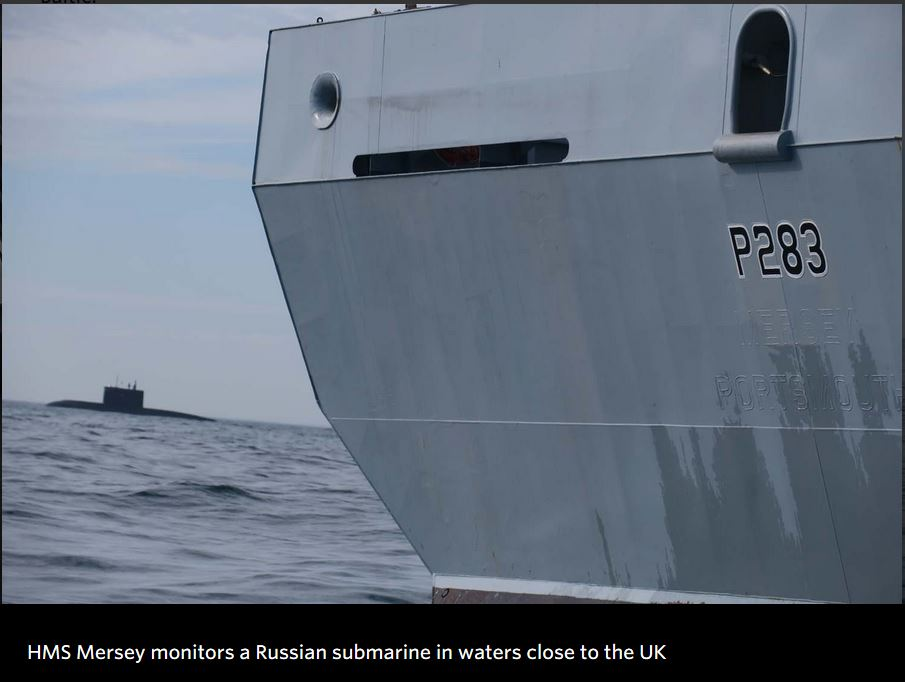 Royal Navy tracks surfaced Russian submarine in waters close to the UK