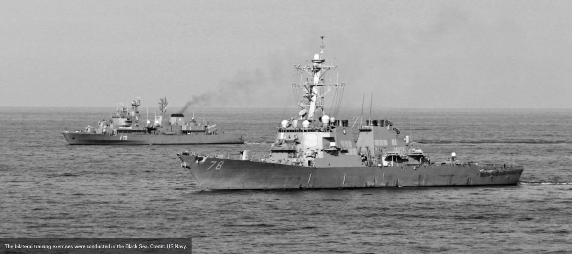 USS Porter and Romanian navy and airforce conduct manoeuvring exercises