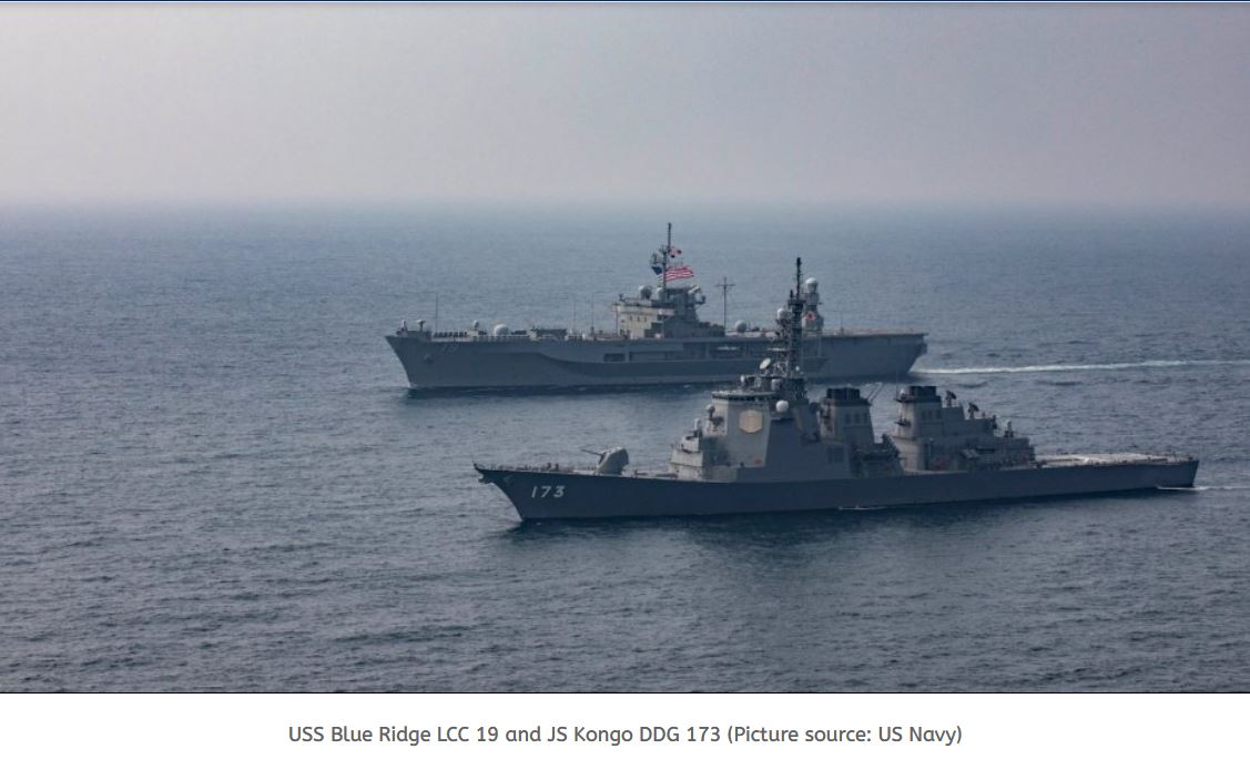 Exercise between USS Blue Ridge and Japan Navy