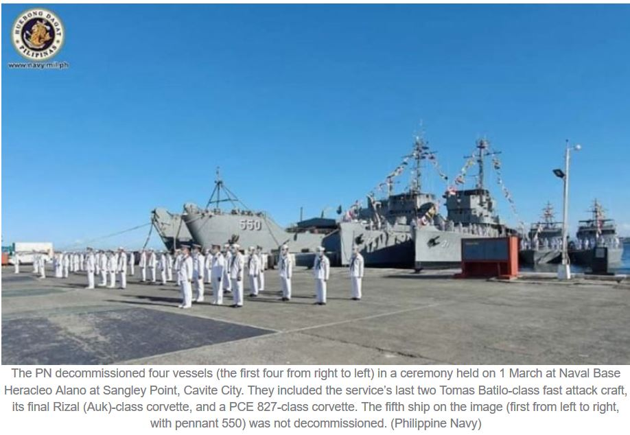 Philippine Navy decommissions two legacy corvettes, two fast attack craft