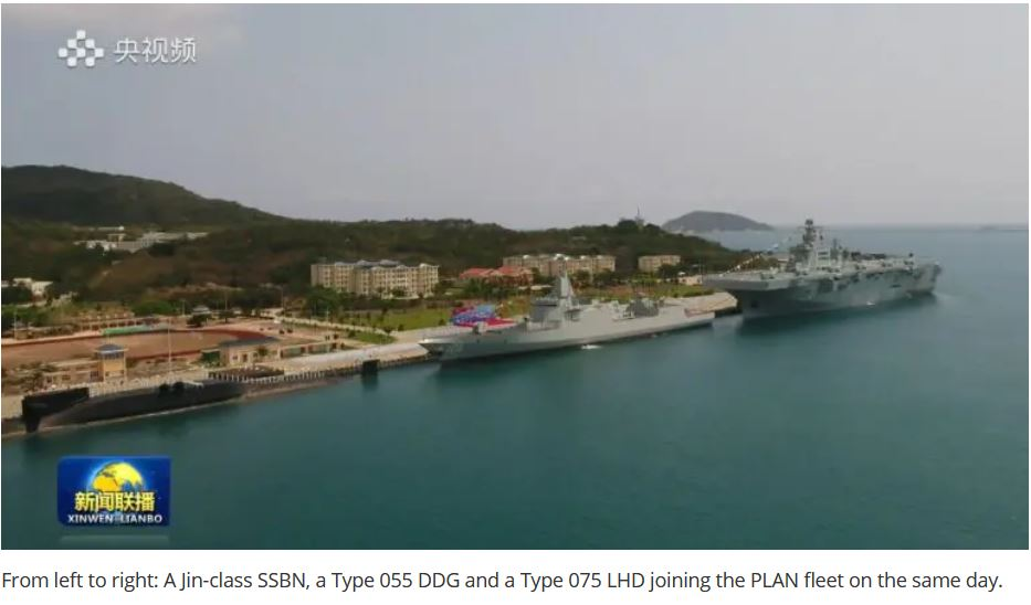 China Commissions a Type 055 DDG, a Type 075 LHD and a Type 094 SSBN in a Single Day