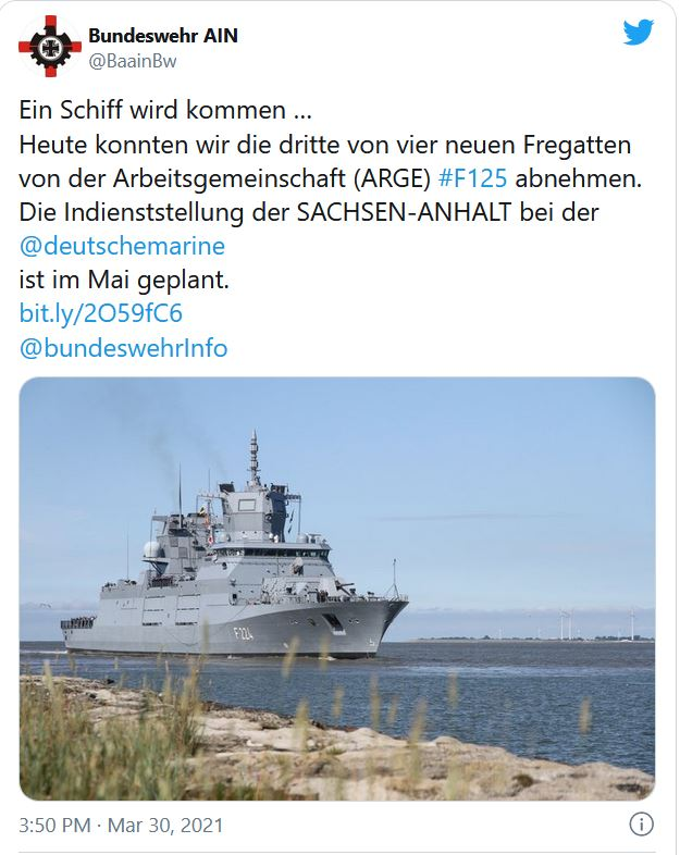 German Navy takes delivery of third F125 frigate