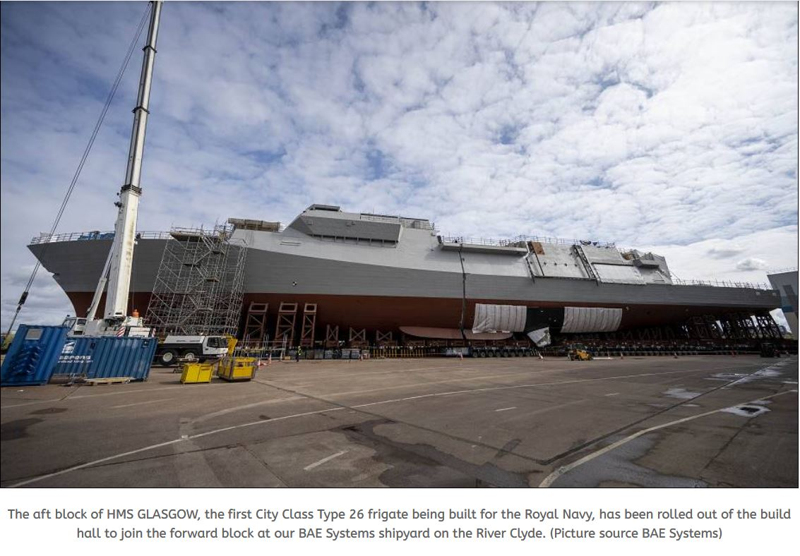 The Aft block of HMS GLASGOW Type 26 frigate to join the forward block