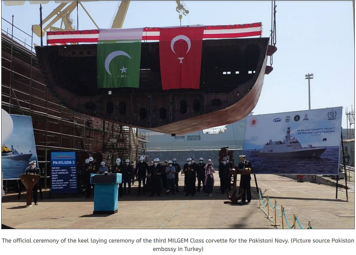 Keel laying ceremony for 3rd MILGEM Class corvette of Pakistani Navy was held in Turkey