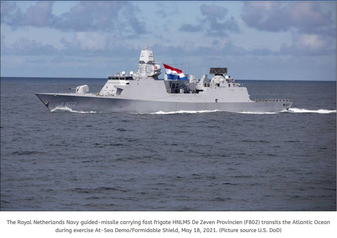 Dutch Navy HNLMS De Zeven Provincien has launched two Evolved Sea Sparrow missiles against subsonic target