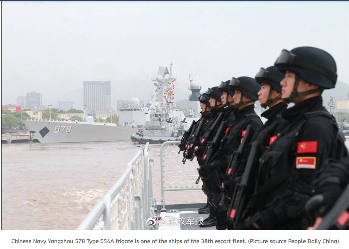 The 38th escort fleet of Chinese Navy departs to carry escort missions in Gulf of Aden