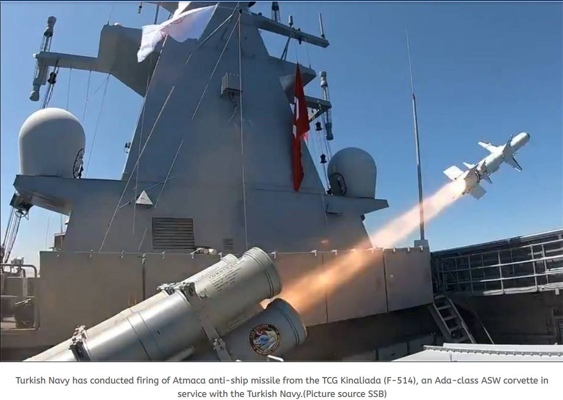Turkish Navy has successfully conducted firing test of Atmaca anti-ship missile from TCG Kinaliada corvette