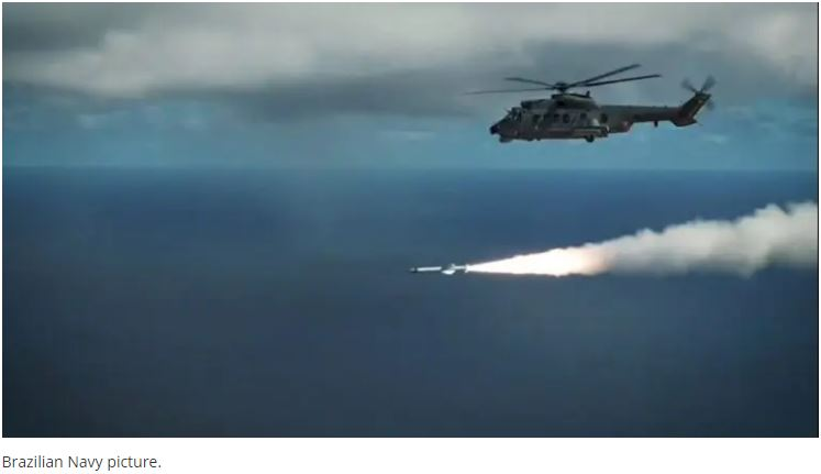 Brazilian Navy Fires Exocet AM39 Missile From H225M Helicopter