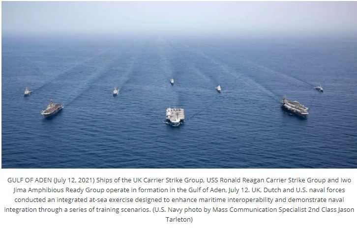 Three Aircraft Carriers Meet Up In The Gulf Of Aden