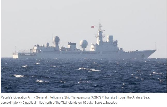 China spy ship spotted near Queensland as it sails into Australian waters