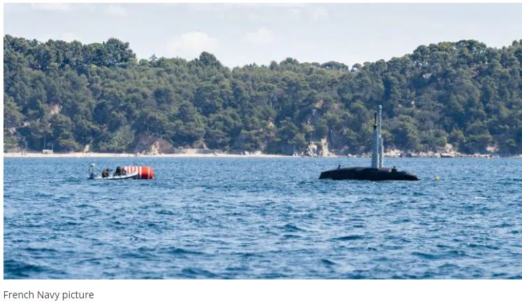 French Navy Conducts Evacuation Exercise From Submerged Submarine Suffren