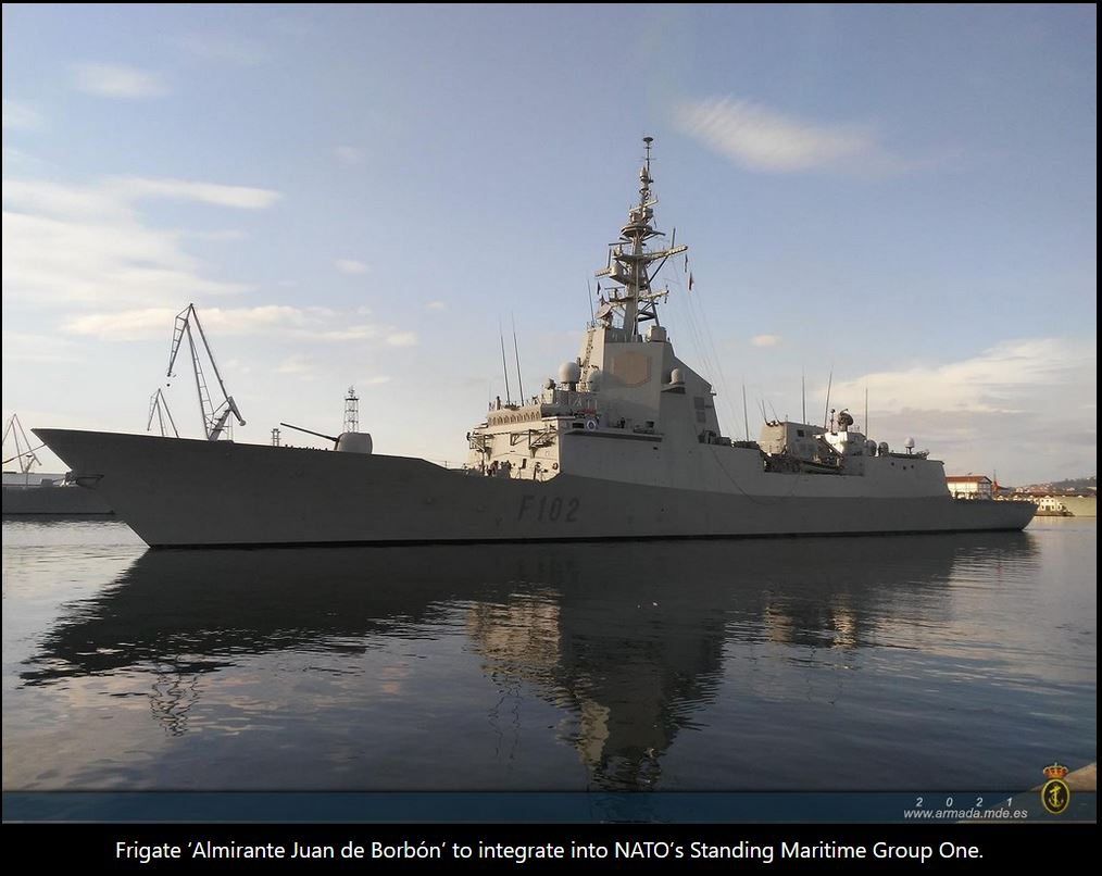 Frigate 'Almirante Juan de Borbón' to integrate into NATO's Standing Maritime Group Number One.